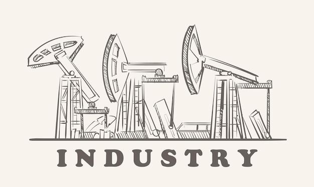 Schizzo disegnato a mano di piattaforme petrolifere industriali