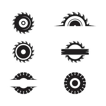 Modello di progettazione dell'icona dell'illustrazione di vettore della sega industriale