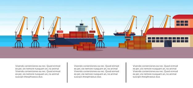 Modello infographic industriale di affari di logistica della gru del carico della nave del porto marittimo