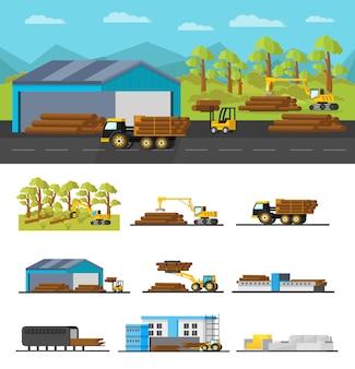 Concetto di produzione di legno industriale