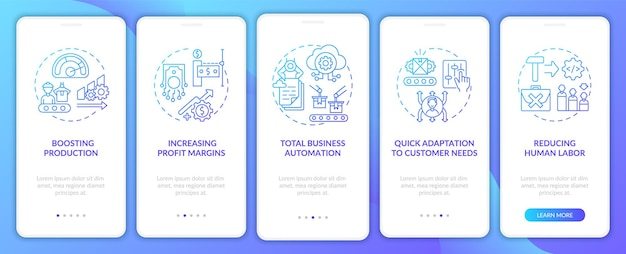 L'industria 4.0 mira a integrare la schermata della pagina dell'app mobile con concetti. automazione totale, procedura dettagliata per la riduzione del lavoro umano modello di interfaccia utente in 5 passaggi con illustrazioni a colori rgb