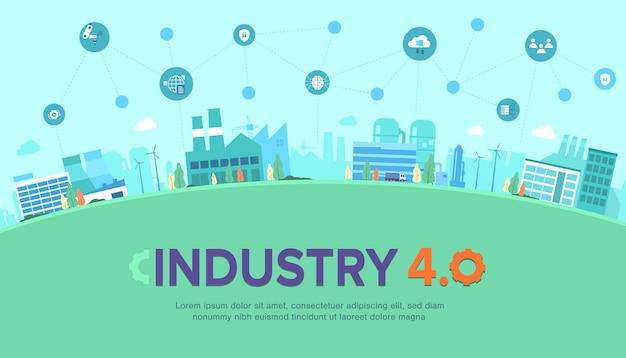 Banner di industria 4.0 con l'icona di produzioni impostata sul paesaggio urbano