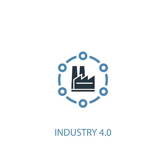 Industria 4.0 concetto 2 icona colorata. illustrazione semplice dell'elemento blu. disegno di simbolo del concetto di industria 4.0. può essere utilizzato per ui/ux mobile e web