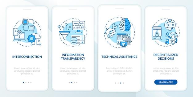 Schermata della pagina dell'app mobile per l'onboarding di industria 4.0 con concetti. informazioni digitali, assistenza tecnica dettagliata 4 passaggi. modello di interfaccia utente con colore rgb