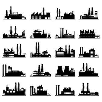 Edifici commerciali industriali. insieme esterno dell'illustrazione delle siluette industriali del magazzino, della fabbrica di fabbricazione e delle fabbriche