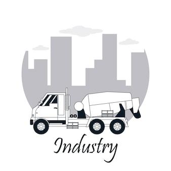 Concetto di industria in bianco e nero