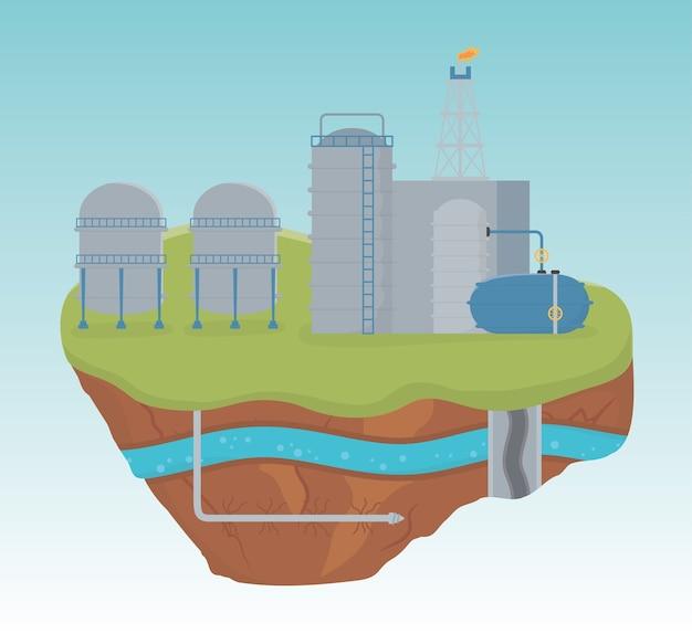 Fracking del processo di produzione in fabbrica industriale