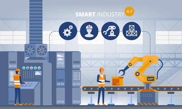 Concetto di fabbrica intelligente di industria con i lavoratori