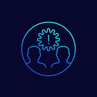 Icona di infezione con virus e persone, linea