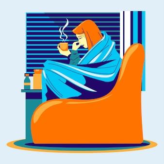 Infezioni e stagione influenzale con illustrazione di persone malate