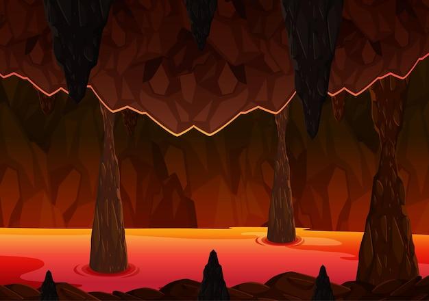 Grotta oscura infernale con scena di lava