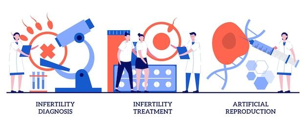 Diagnosi dell'infertilità, trattamento dell'infertilità, concetto di riproduzione artificiale con persone minuscole. pianificazione della gravidanza, problemi di funzione riproduttiva insieme astratto dell'illustrazione di vettore.