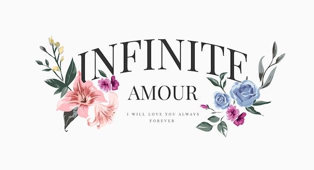 Slogan infinito amour con illustrazione di fiori vintage colorati, amour è la parola francese per