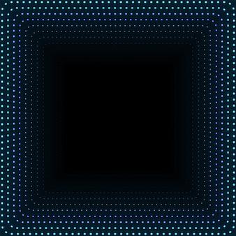 Tunnel quadrato infinito di punti luminosi. l'estratto indica il fondo di tecnologia cyber. illustrazione