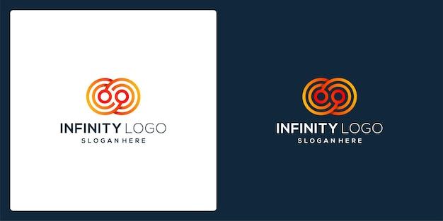 Forma simbolo infinita con modello tecnico e colore sfumato.