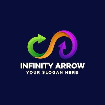 Disegno del logo colorato sfumato freccia infinito