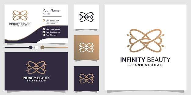 Estratto del logo di bellezza infinito con il concetto di arte di linea creativa vettore premium premium