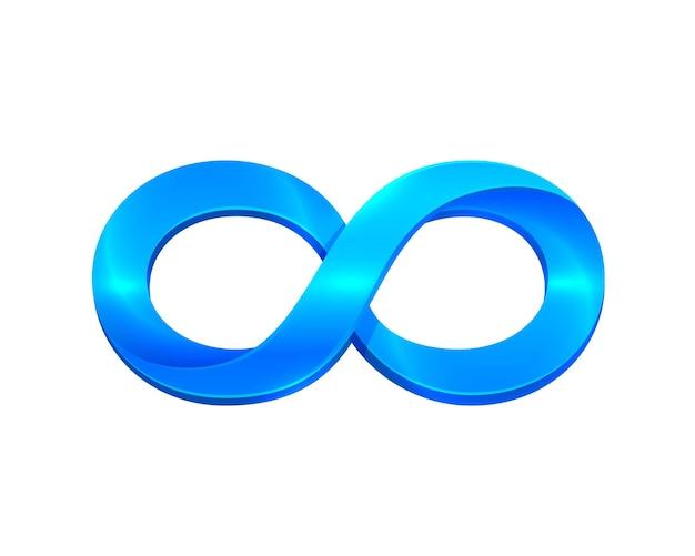 Simbolo di infinito blu su sfondo bianco. illustrazione vettoriale