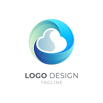 Infinity cloud logo colorato design concept