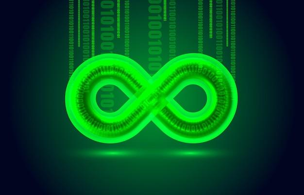 Vettore geometrico dell'elemento del segno dell'icona di colore dell'infinito