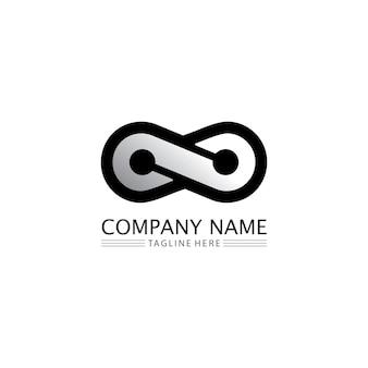 Infinity design logo e 8 icona, vettore, segno, logo creativo per il business e il simbolo dell'infinito aziendale