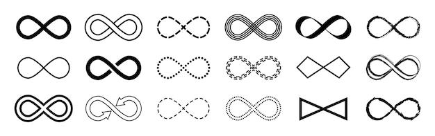 Insieme di vettore di simbolo piatto infinito n sfondo bianco