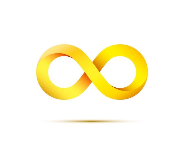 Simbolo di infinito oro su sfondo bianco. illustrazione vettoriale