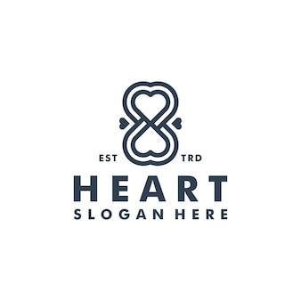 Illustrazione dell'icona di vettore del logo del cuore infinito
