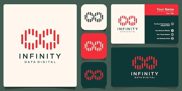 Disegno del logo infinito. loop con concetto di linea