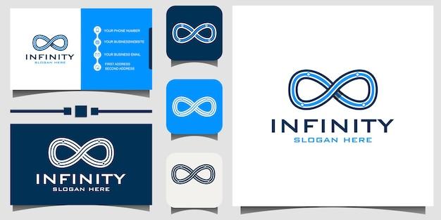 Infinity logo design vettoriale con biglietto da visita