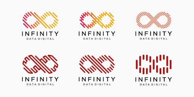 Insieme dell'icona del logo infinito.