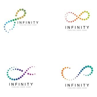 Modello di progettazione dell'icona del logo del simbolo del ciclo infinito. segno dell'emblema di colore di vettore.