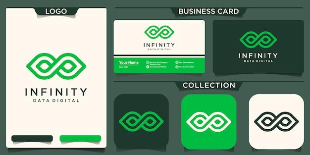 Design del logo della natura infinita. loop con concetto di linea