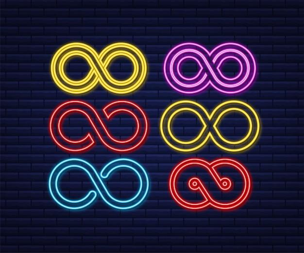 Infinito in stile icona al neon. logo rotondo. concetto futuro.