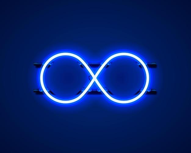 Simbolo di infinito al neon sullo sfondo blu. illustrazione vettoriale