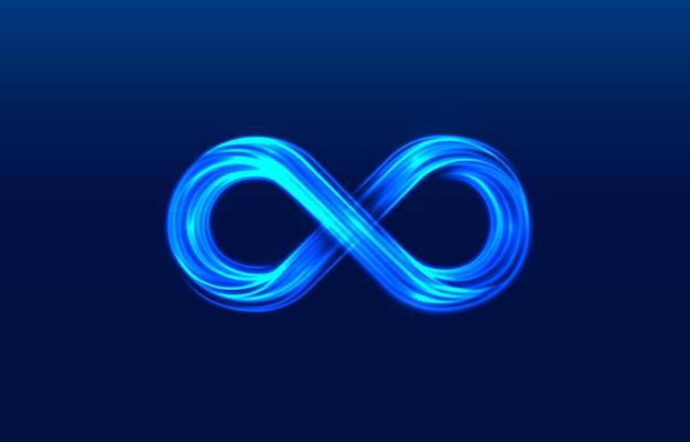 Simbolo al neon infinito sull'azzurro Vettore Premium