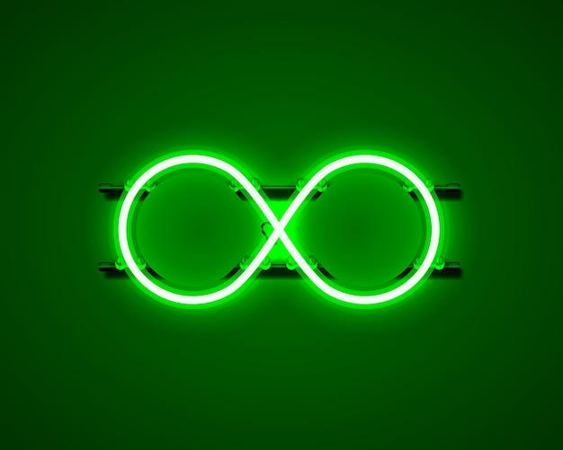 Simbolo di infinito al neon sullo sfondo verde. illustrazione vettoriale