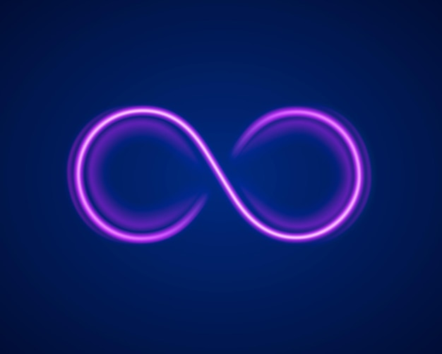 Simbolo infinito al neon sullo sfondo viola. illustrazione vettoriale