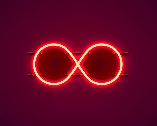 Simbolo infinito al neon sullo sfondo rosso. illustrazione vettoriale