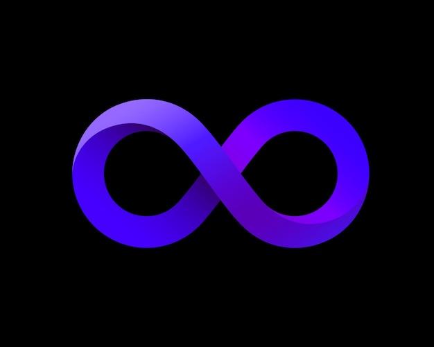 Simbolo di infinito viola sullo sfondo nero. illustrazione vettoriale