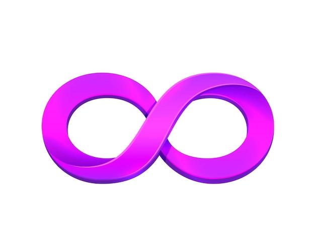 Simbolo di infinito viola su sfondo bianco. illustrazione vettoriale