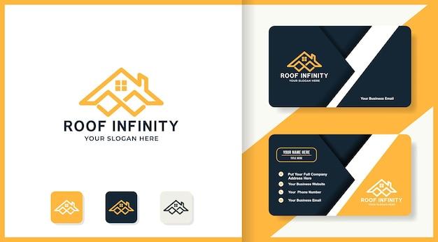 Design del logo del tetto a sfioro e biglietto da visita