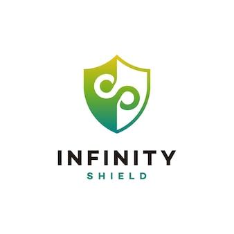 Il logo infinity shield progetta il vettore del concetto, l'icona del simbolo del logo secure e infinity