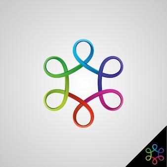 Simbolo di infinito con stile 3d e concetto di esagono