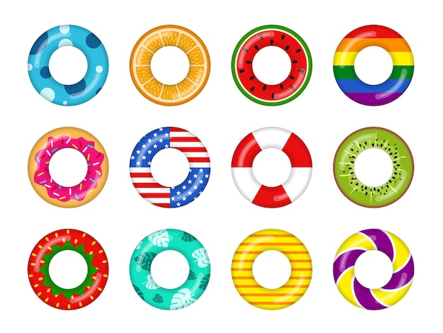 Set colorato di anelli gonfiabili per il nuoto isolato su sfondo bianco, anello salvavita in gomma galleggiante con frutta e ciambella, tema dell'acqua di mare di estate della spiaggia dei bambini della boa. icone di illustrazione vettoriale.