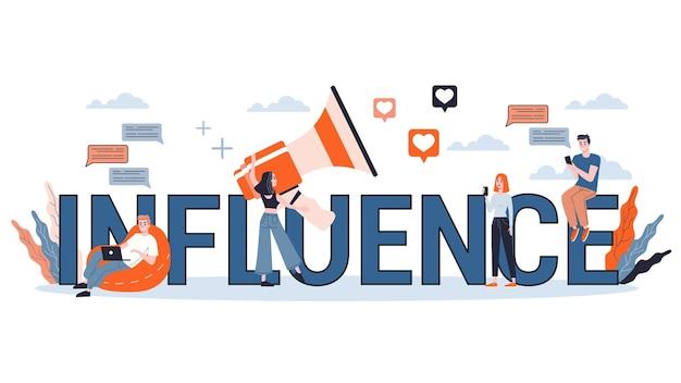 Banner di concetto di influenza. idea di pubblicità e follower nei social media. illustrazione