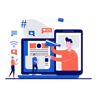 Influencer marketing, blog, pubblicità sui social media concetto di reti con carattere minuscolo. persone con megafono che promuovono prodotti o servizi sul canale video piatto.