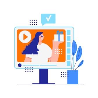 Composizione di marketing dell'influencer con donna che promuove il prodotto sul servizio online