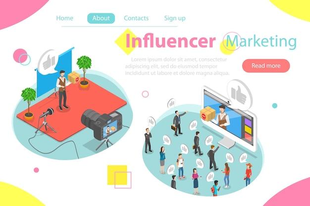 Concetto di vettore isometrico piatto di marketing di influencer