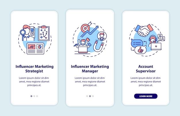 Lavori di marketing di influencer onboarding schermata della pagina dell'app mobile con concetti